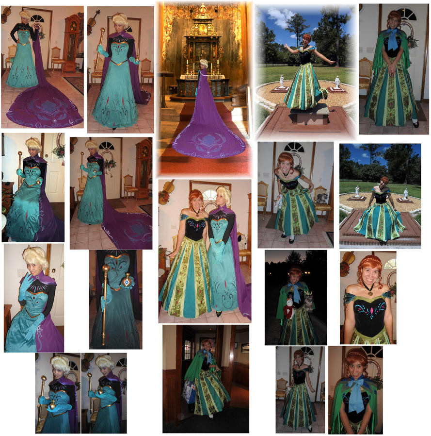 Elsa and Anna Coronation Cosplay Costumes 2015 by SetsunaKou