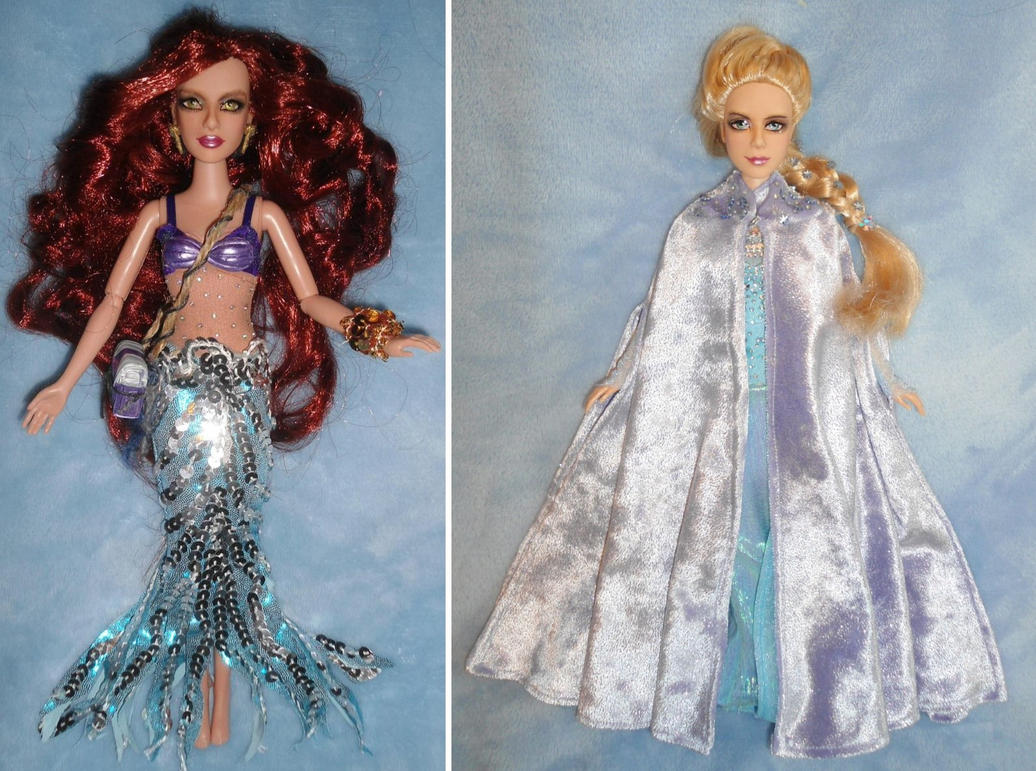 Ariel + Elsa ONCE UPON A TIME 11inch OOAK Dolls by SetsunaKou