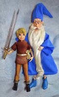 Merlin + Young King Arthur Doll Sword in the Stone