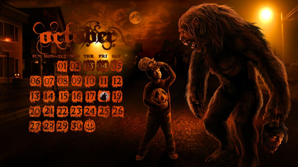 october werewolf desktop wallpaper calendar by viergacht