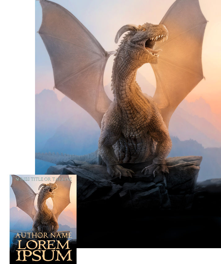 Winter Dawn Dragon Premade Book Cover by Viergacht