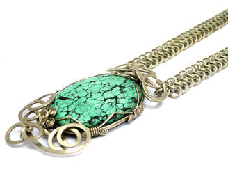 Wire Wrap Chainmaille Necklace by hyppiechic