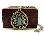 Wire Wrap Baroque Necklace with Labradorite stone