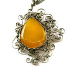 Wire Wrap Necklace with Yellow Onyx