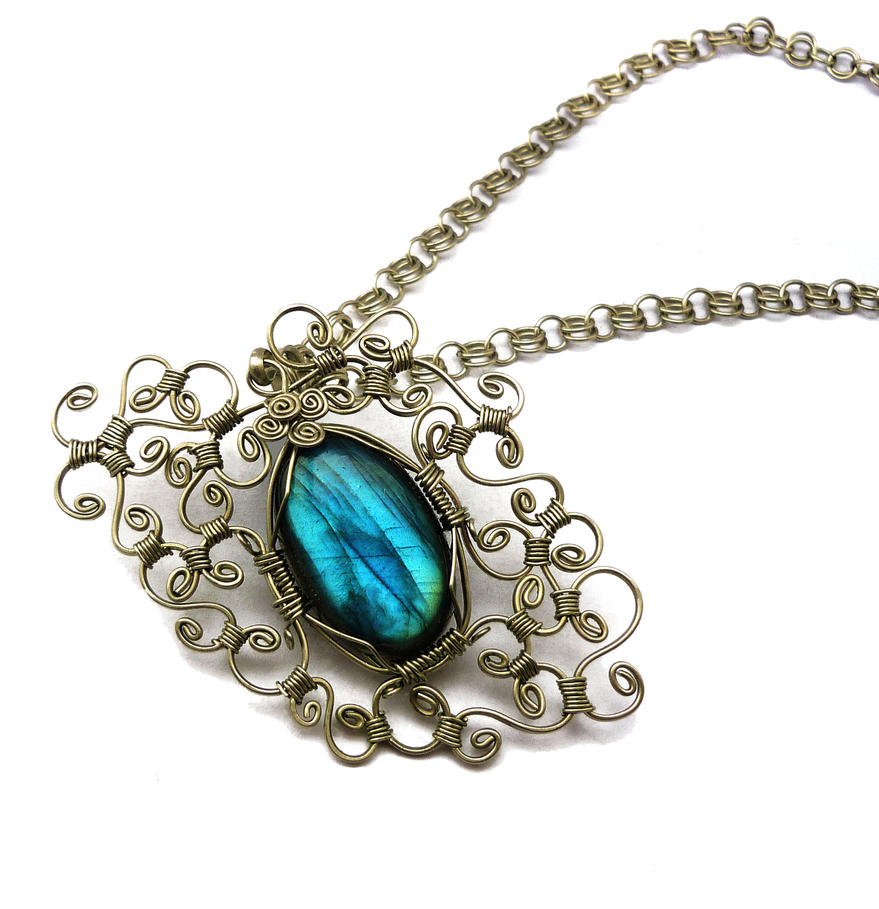 Wire Wrap Necklace with Labradorite stone by hyppiechic on DeviantArt