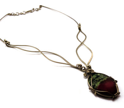 Wire Wrapped Necklace with Ruby Zoisite stone