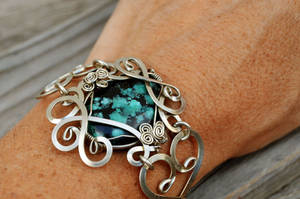 Wire Wrap Bracelet with Blue Turquoise stone