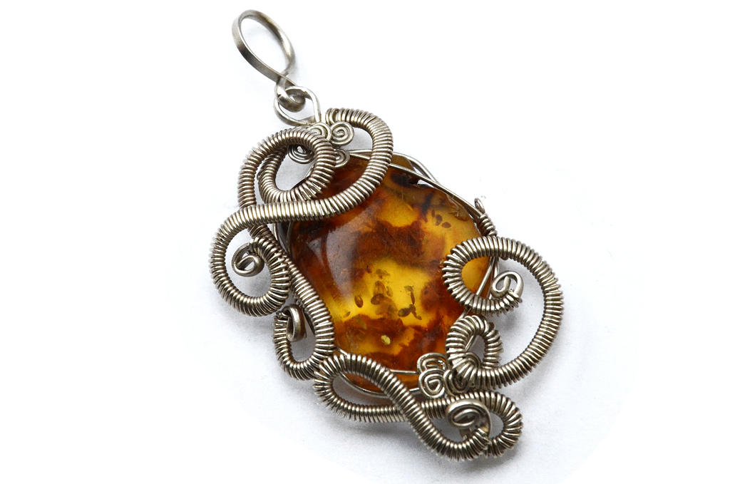 Wire Wrapped Pendant with Amber stone by hyppiechic on DeviantArt