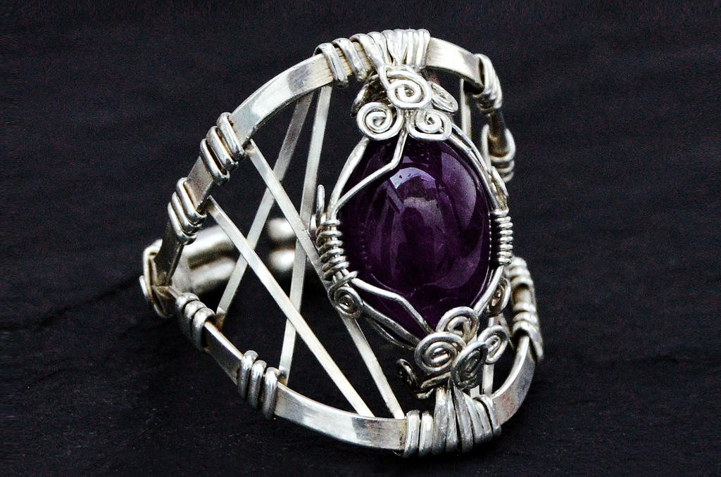 Wire Wrap Sterling Silver Ring with Amethyst stone by hyppiechic on ...
