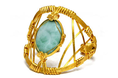 Wire Wrap Gold Plated Cuff Bracelet with Larimar by hyppiechic