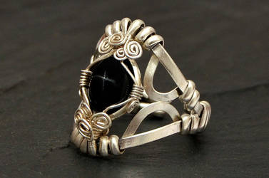 Wire Wrapped Sterling Ring with Black Star by hyppiechic