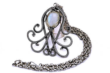 Wire Wrap Silver Plated Necklace with Moonstone by hyppiechic