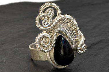 Sterling Silver Ring with Black Onyx Stone by hyppiechic