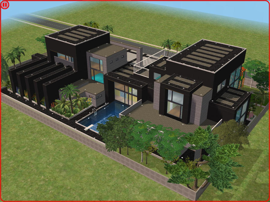 Sims 2 modern dream house by ramborocky on deviantart for Minimalist house sims 2