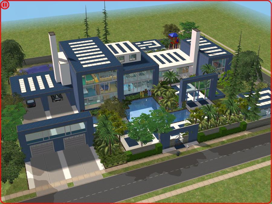 Sims 2 Modern Blue Mansion By RamboRocky On DeviantArt