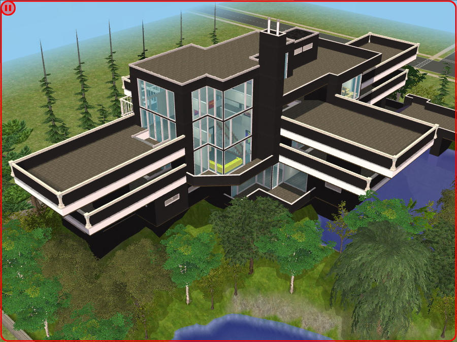 Sims 2 Modern Black And White Villa By RamboRocky On