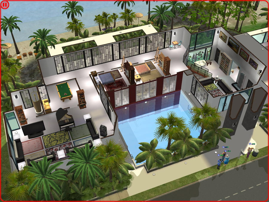 The sims 2 modern beach house house modern for Beach house designs for sims 3