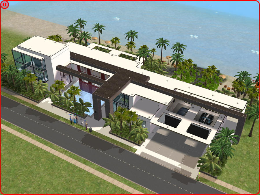Sims 2 modern beach house by ramborocky on deviantart for Modern house design the sims 3