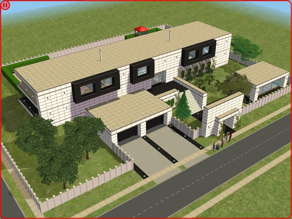 Sims 2 modern white house by ramborocky on deviantart for Sims 2 home designs