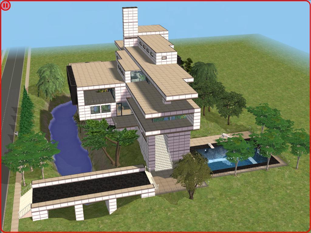Sims 2 modern white hillside mansion by ramborocky
