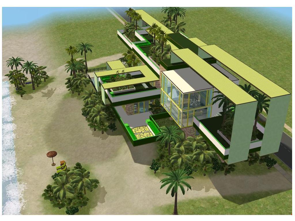 Sims 2 modern green beach house by ramborocky on deviantart for Modern green home