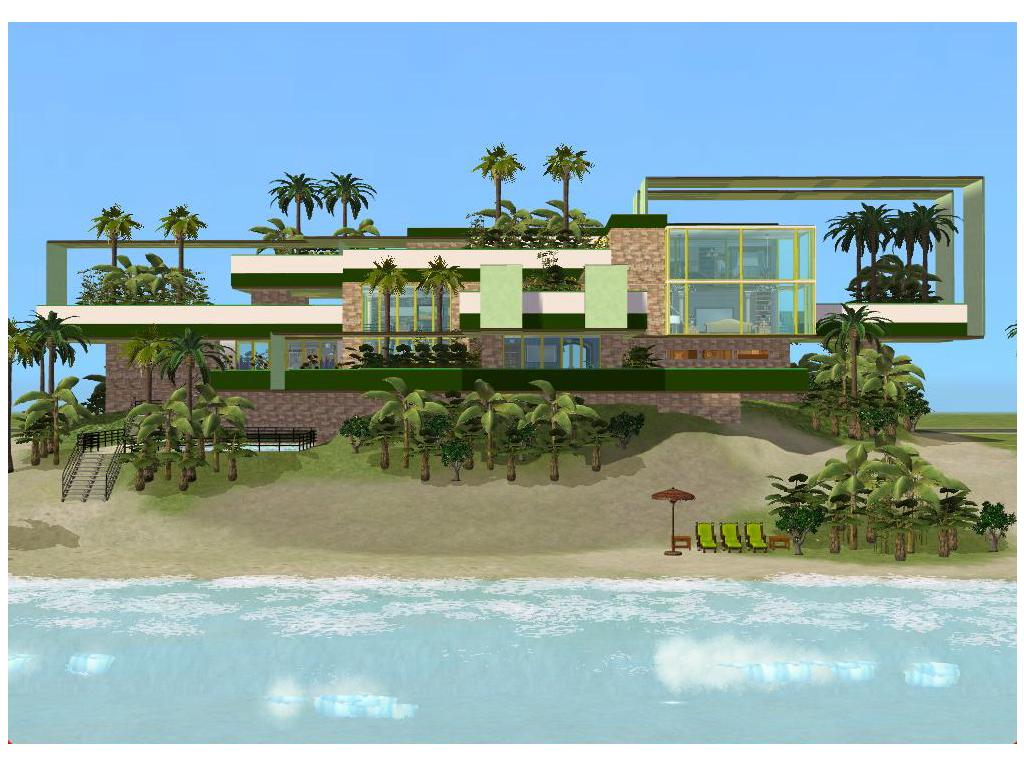 Sims 2 modern green beach house by ramborocky on deviantart for Beach house plans sims 3
