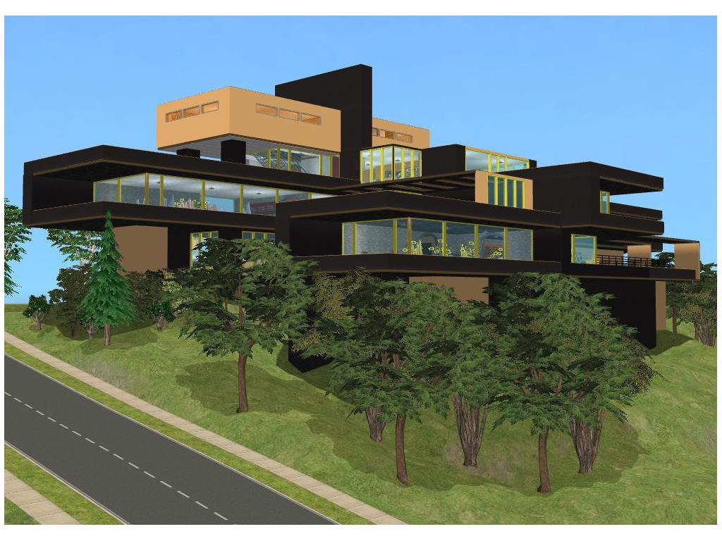 Sims 2 modern black and yellow hillside mansion by for Modern house yellow