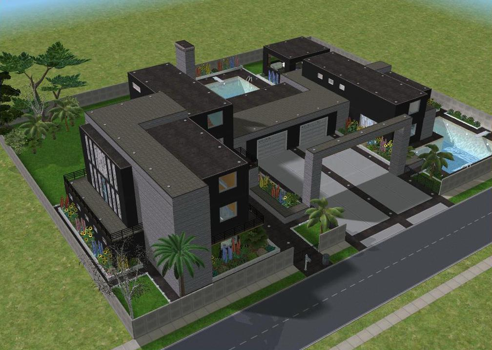 Sims 2 Modern Black Mansion By RamboRocky On DeviantArt