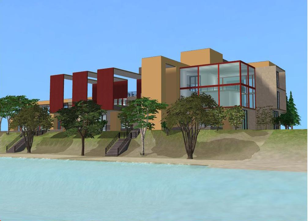 Sims 2 modern beach villa by ramborocky on deviantart for Beach villa design
