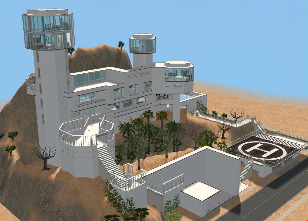 Sims 2 futuristic hillside mansion by ramborocky on deviantart