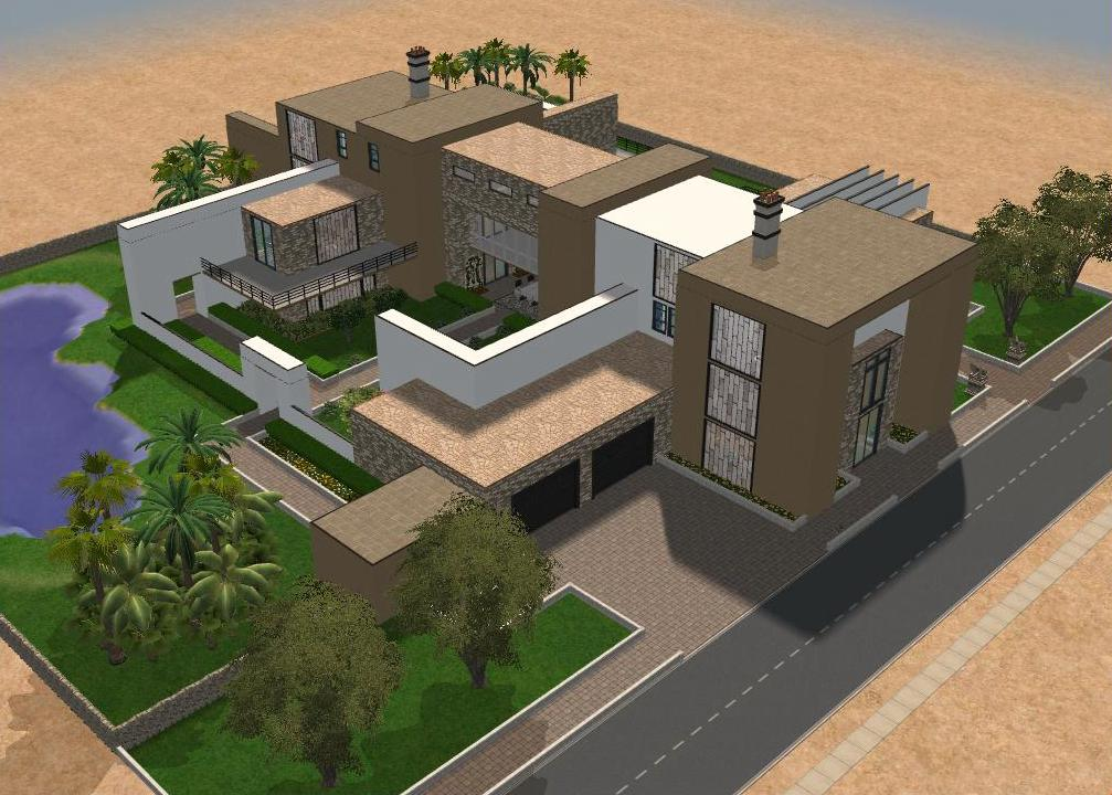 Sims 2 large modern mansion by ramborocky on deviantart for Big modern house sims 4