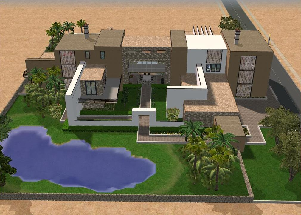 Sims 2 large modern mansion by ramborocky on deviantart for Big modern mansions
