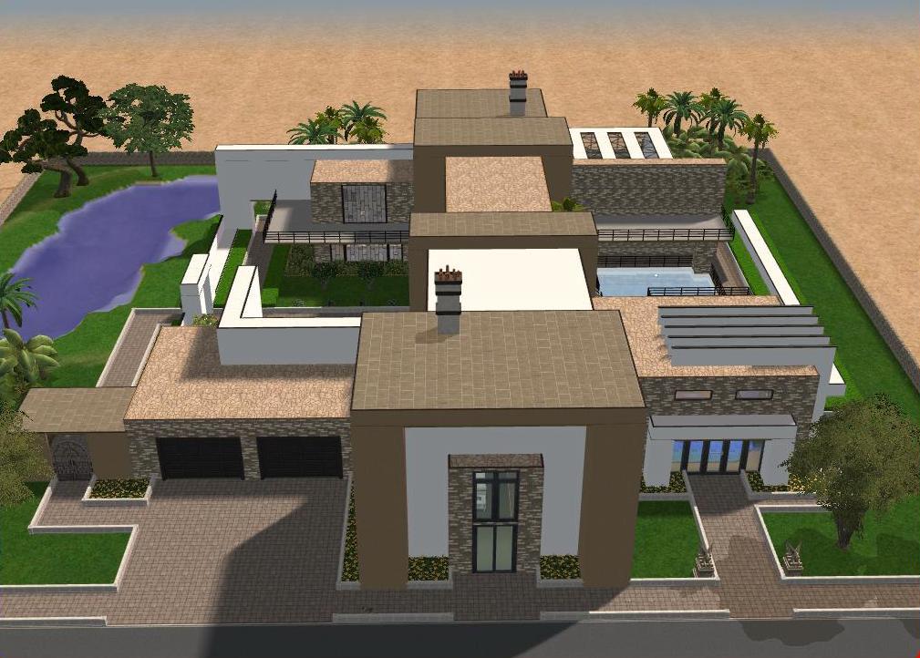 Sims 2 large modern mansion by ramborocky on deviantart for Big modern mansions