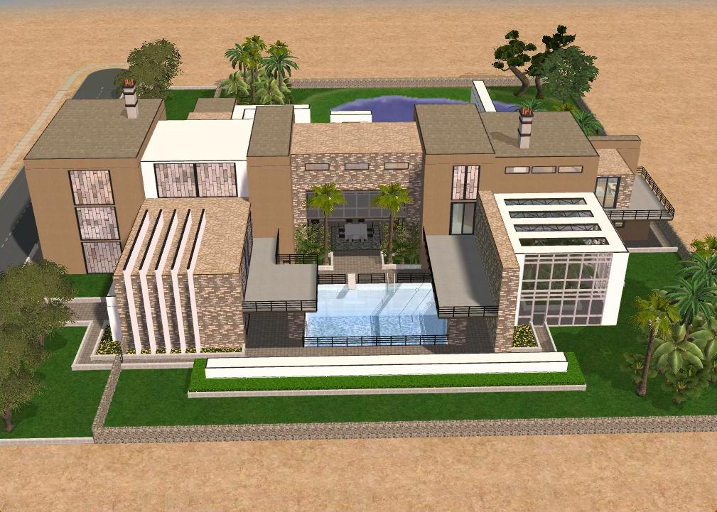 Sims 2 large modern mansion by ramborocky on deviantart for Huge modern mansion