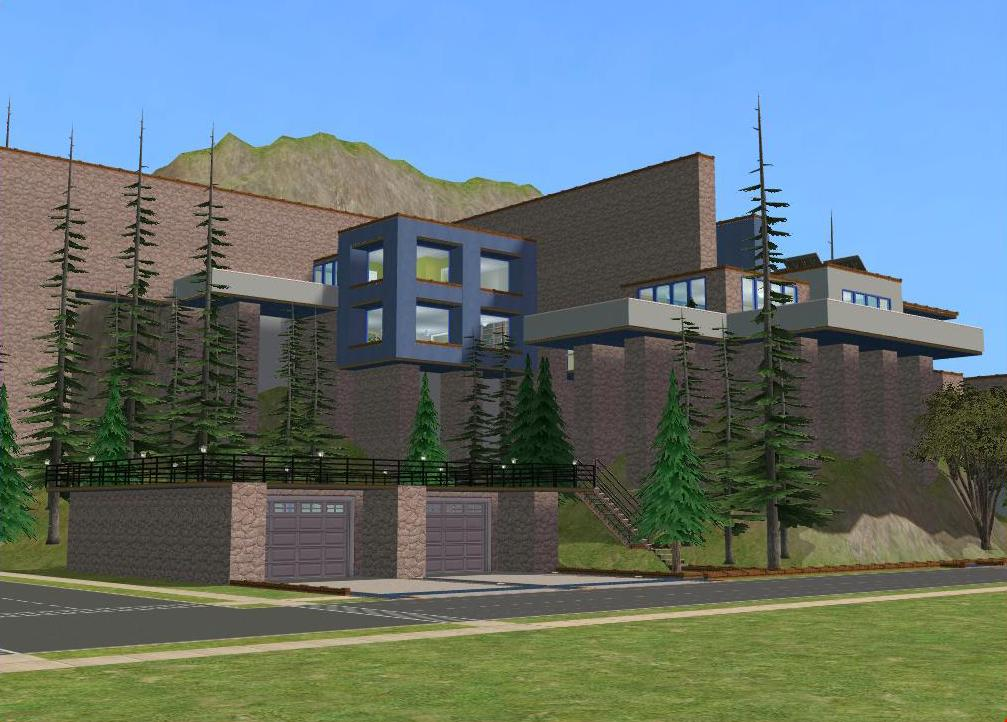 Sims 2 Modern Blue Cliffside House By RamboRocky On DeviantArt