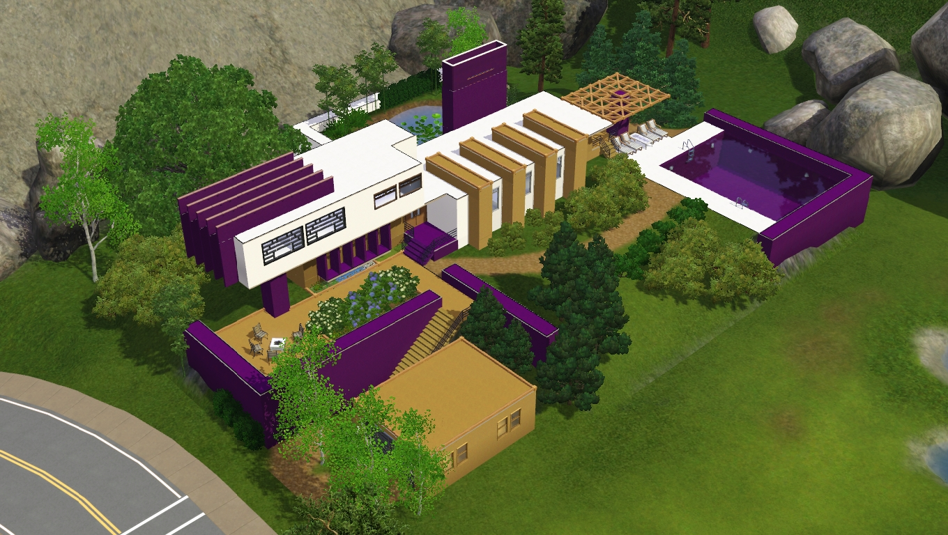 Sims 3 modern purple house by ramborocky on deviantart for Sims 3 home designs