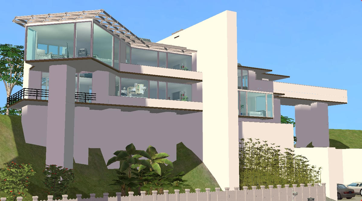 Sims 2 Modern Hillside Mansion By RamboRocky On DeviantArt