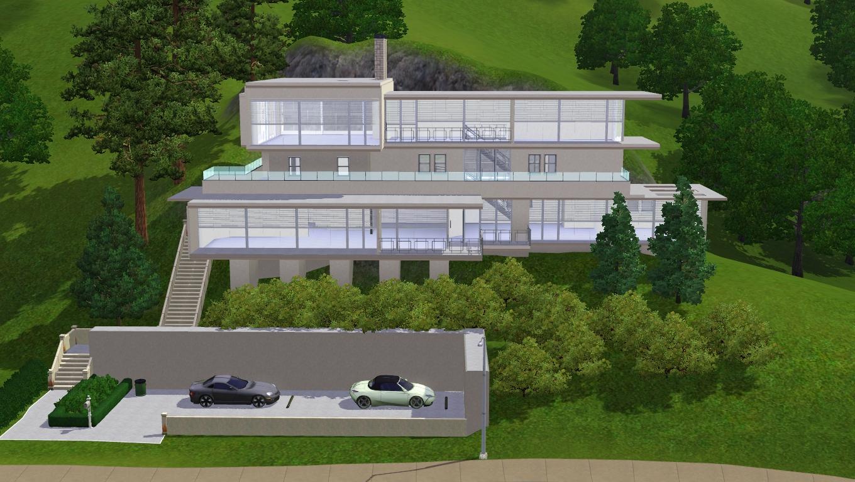 Sims 3 modern hillside home by ramborocky on deviantart for Modern house plans on a slope