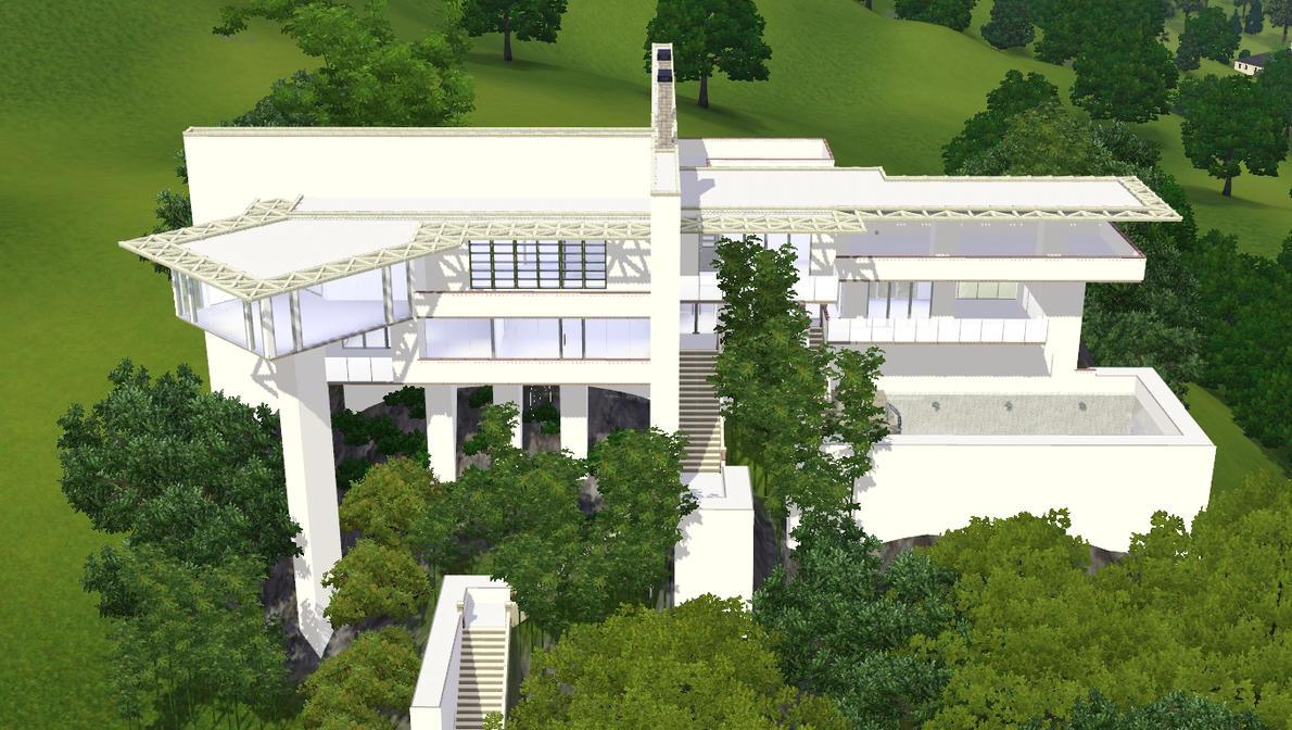 Sims 3 modern hillside home by ramborocky on deviantart for Modern hillside house plans
