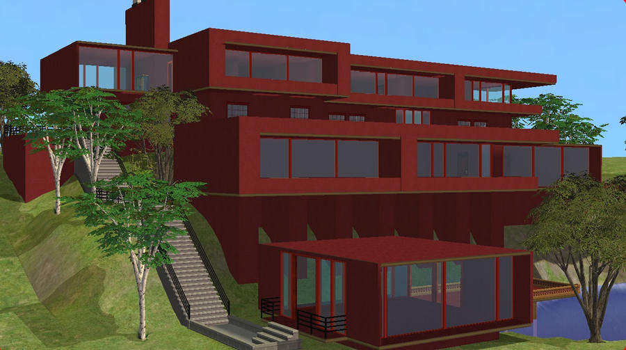 Sims 2 Modern Red Home By RamboRocky On DeviantArt