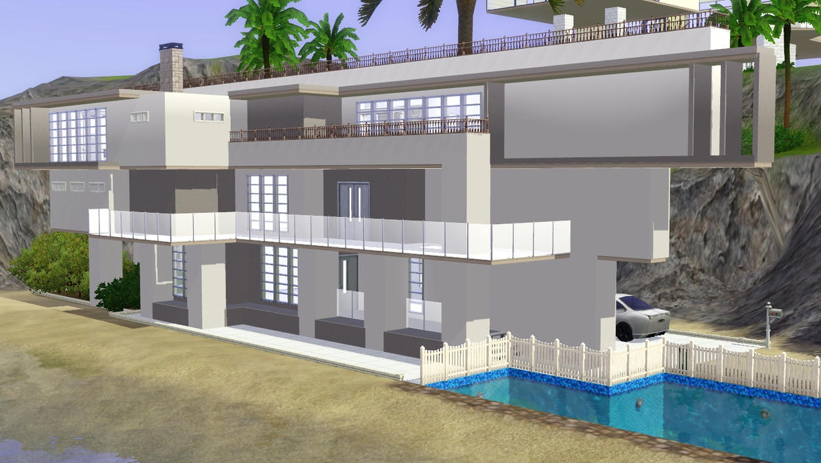 Sims 3 modern beach home by ramborocky on deviantart for Beach house plans sims 3