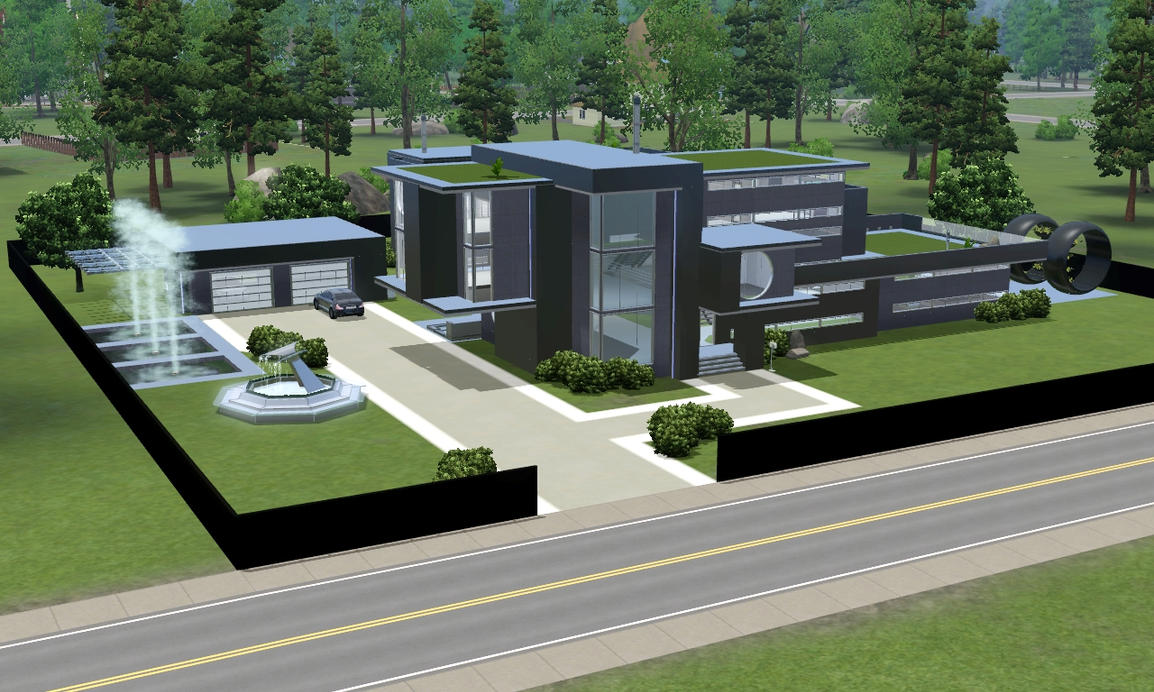 Sims 3 modern black futuristic villa by ramborocky on for Minimalist house sims 3