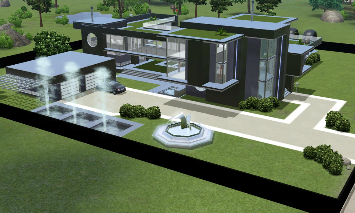 Sims 3 modern black futuristic villa by ramborocky on for Modern house design the sims 3