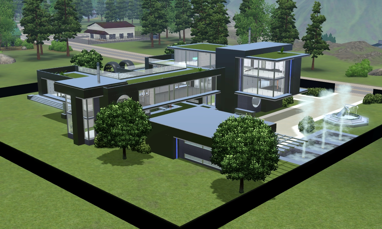 sims 3 modern black futuristic villa by ramborocky on deviantart. Black Bedroom Furniture Sets. Home Design Ideas