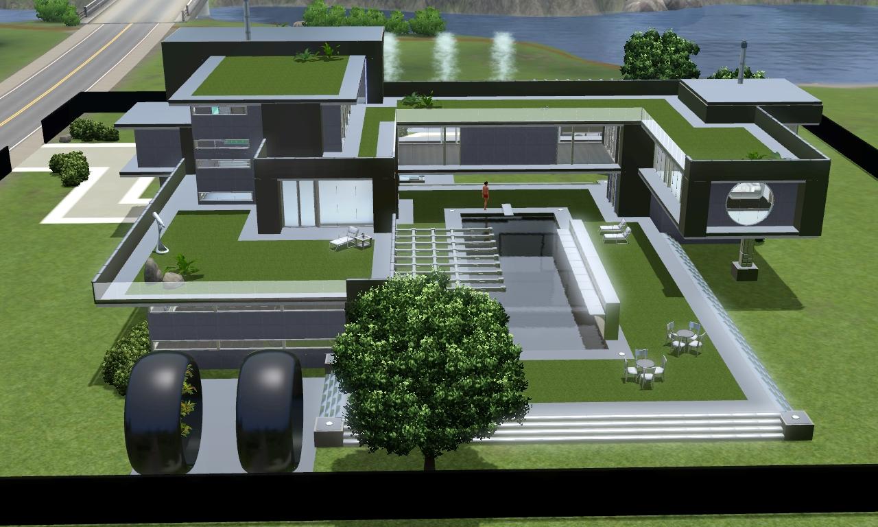 Sims 3 modern black futuristic villa by amboocky on Deviantrt - ^