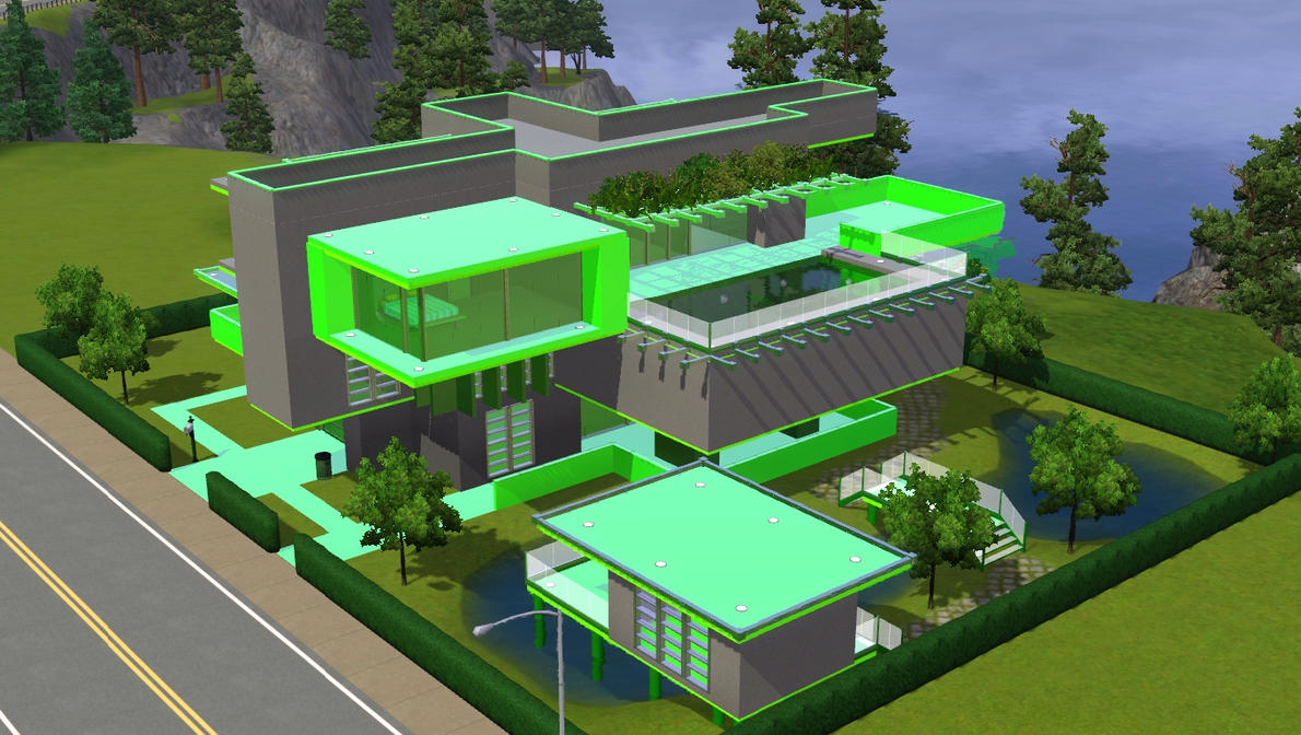 Sims 3 green minimalist home by ramborocky on deviantart for Minimalist house sims 2