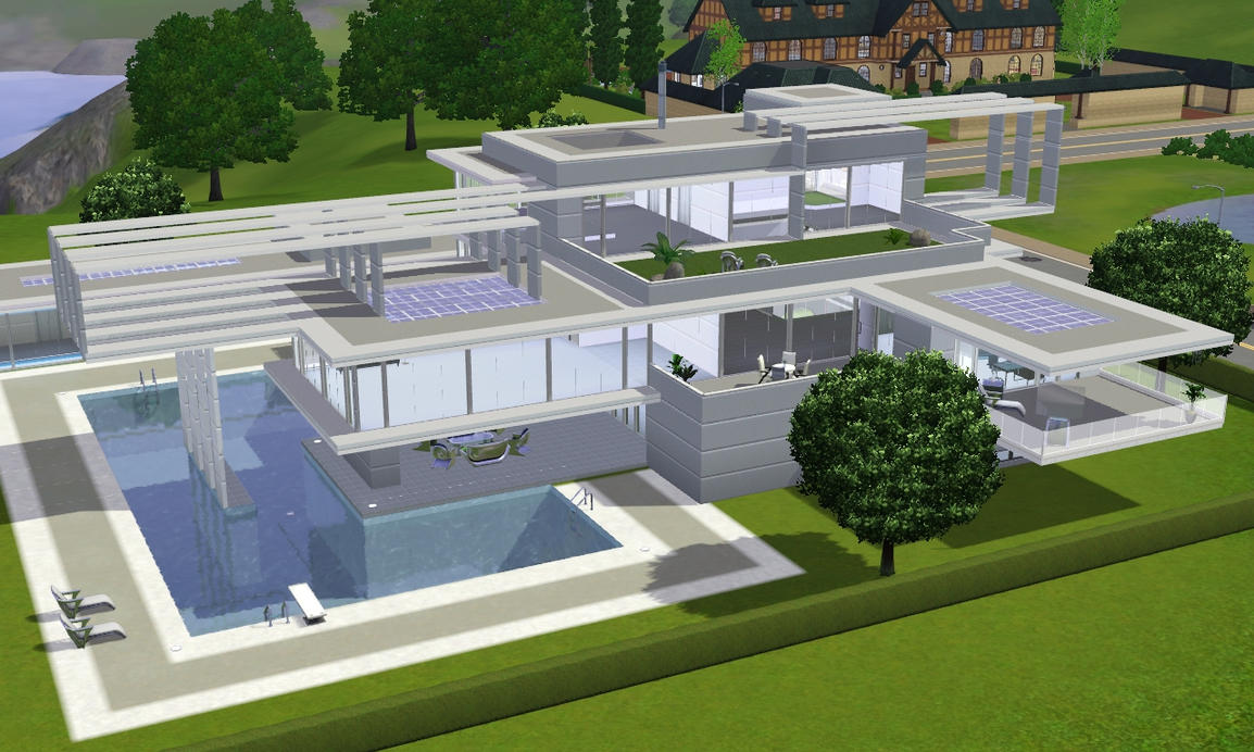 sims 3 to the future modern villa by ramborocky on