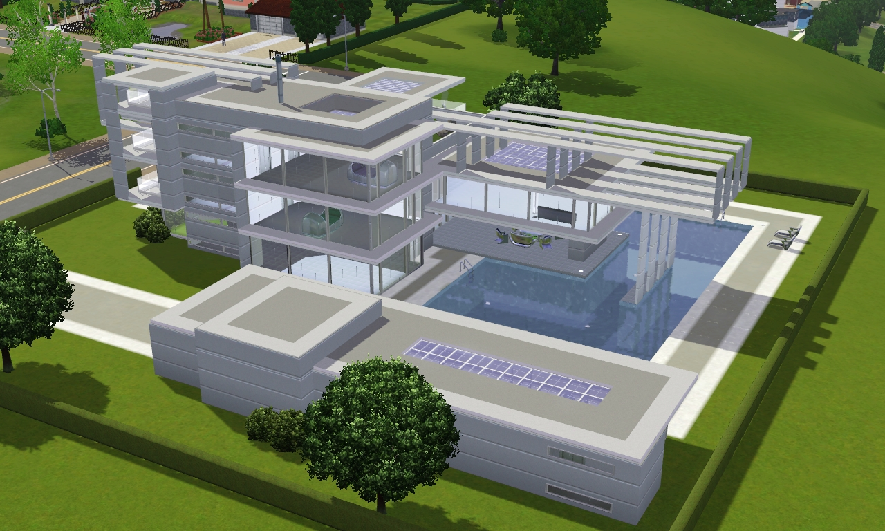 Sims 3 to the future modern villa by ramborocky on for Modern house design the sims 3