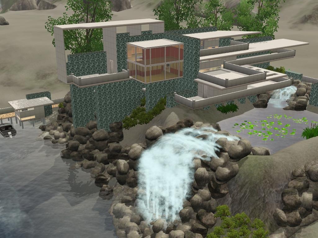 Sims 3 futuristic falling water house by ramborocky