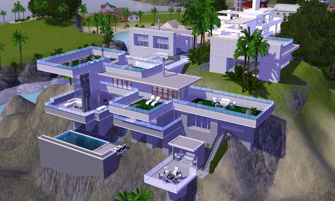 Sims 3 futuristic hillside villa by ramborocky